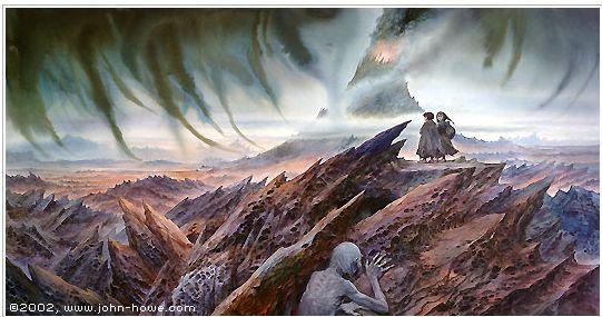 Frodo Sam and Gollum approach Mount Doom